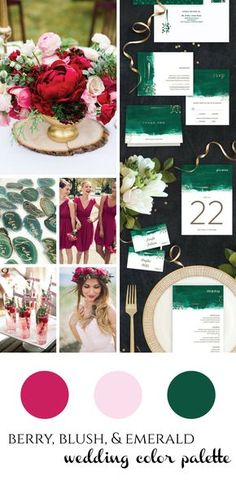 Berry, Blush, & Emerald Wedding inspiration - vibrant and rich jewel tones