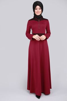 Dantel Detay Düğmeli Elbise  Bordo Ürün kodu: MSW8164--> 74.90 TL