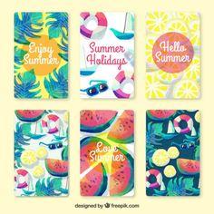 Colección de bonitas tarjetas de verano en efecto acuarela Vector Gratis