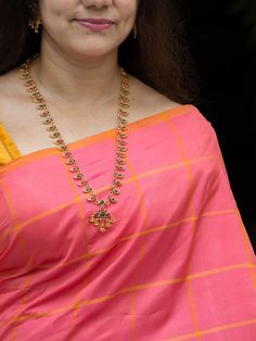 Ethnic Traditional Mango Haaram and Matching Earrings embellished with Semi Precious Stones. Mango Necklace, Pearl Necklace Set, Long Chain Necklace, Mango Mala Jewellery, South India, Guttapusalu Haram, Gold Haram, Gold Jewellery Design, Silver Jewelry
