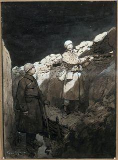 Le blessé au créneau - Scott Georges Bertin, 1916.