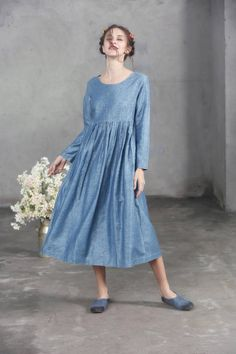 blue linen dress for women. 【Characteristic】 Extravagant flattering loose dress , so elegant and comfy ... Perfect solution for your everyday outfit:) ...not only... This would be turn around garment wherever you go! Your fashion update , your home entertainment your casual style ,your beach cover up, your party inspiration and so...so ...on:) 【Details】 1. asymmetrical skirt styling 2. romantic pleats on the wasitline. 3. long sleeves. 4. retro high waist 5. Two side pockets 6. so flatter...