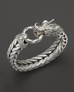 John Hardy Men's Naga Silver Dragon Head Bracelet on Fishtail Chain | Bloomingdale's