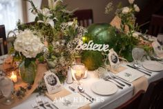 Who says small weddings can't be fabulous?  Check out these centerpieces that a bride and her mom did at Longfellows.  Just beautiful!  Amy Hedges Photography.