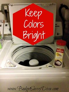 Keep Colors Bright in the Washing Machine.Worried about colors fading after multiple washes? Use this frugal tip to keep colors bright! When washing your clothes, add two teaspoons of salt to the washing machine. Homemade Cleaning Products, Household Cleaning Tips, Natural Cleaning Products, Cleaning Hacks, Diy Cleaners, Cleaners Homemade, Tips & Tricks, Laundry Hacks, Frugal Tips