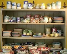 Love all the pottery in this hutch