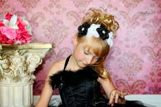 Black White Headband Flower Girl Headband by KennaBridalMaternity
