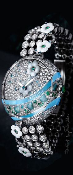 Jewelry Watch with Diamonds, Green Emeralds and Gemstones