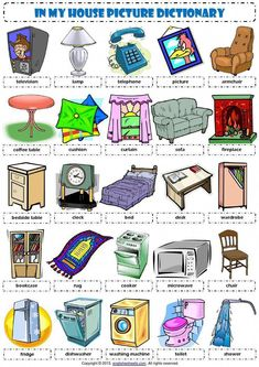 In my house furniture goods pictionary poster vocabulary worksheet icon English Resources, English Activities, Education English, English Lessons, Teaching English, English Phrases, English Words, English Grammar, English Language
