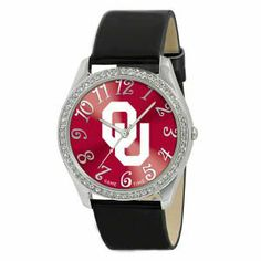 Oklahoma Sooners Glitz Ladies Watch . $34.99. A stylish accessory for the true fan! With official team logos and patent leather strap, this ladies watch makes the perfect accessory for any occasion. Features include a metal case with 50 crystal stones, brass dial, stainless steel buckle, case back and crown. The watch is water resistant to 3 ATM (99ft) and comes with manufacturer Limited Lifetime Warranty