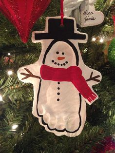 Salt dough footprint snowman ornament. 1/2 c. Flour, 1/2 c. Salt, 1/4 c. Water