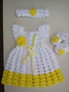 Baby Dress Crochet Baby Dress Flower Baby Girl Clothes Bab - Her Crochet Crochet Baby Jacket, Crochet Baby Dress Pattern, Crochet Baby Sandals, Baby Afghan Crochet, Booties Crochet, Baby Girl Crochet, Crochet Baby Clothes, Crochet Baby Costumes, Crochet Princess