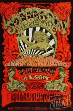 ☮ American Hippie Psychedelic Art Music ☮ Jefferson Airplane Poster,  Fillmore West (San Francisco, CA) Oct 24, 1968
