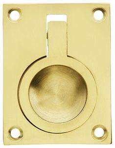 "Solid Brass Flush Mount Ring Pull - 2 1/2"" x 1 7/8"" 