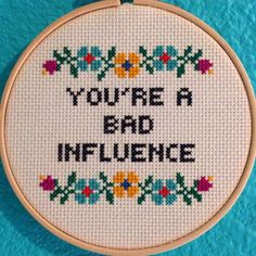 Pattern: Cross Stitch You're A Bad Influence by StitchBitchDarling