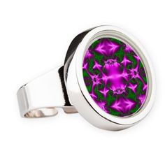 Colorful Pink green abstract stainless steel ring #cafepress #jewelry #style #gifts http://www.cafepress.com/+bright_pink_green_abstract_pattern_ring,1227930368?utm_tracking=social