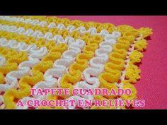 *** Tapete cuadrado a crochet en RELIEVES paso a paso en video tutorial FÁCIL DE TEJER - YouTube