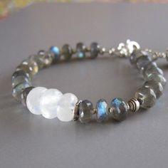 Labradorite Spectrolite Moonstone Sterling Silver Bead by DJStrang, $72.00