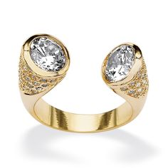4.00 TCW Round Cubic Zirconia Crystal Accent 14k Gold-Plated Open Ring at PalmBeach