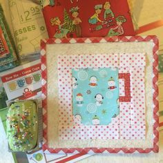 "Okay cute people...✂️✂️✂️here is block two in my #haveyourselfaquiltylittlechristmas  sew along:) ...one cute cup of cocoa from page 28 in my Quilty Fun book:) After sewing the block cut 2- 1 1/2"" x 5 1/2"" strips from your background fabric and add to the sides. Then cut 2- 1 1/2"" x 7 1/2"" strips and sew to the top and bottom:) ✂️✂️✂️Ready...set...SEW!!! ⛄️ #beeinmybonnet #quiltyfun #quiltyfunchristmas"