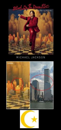 """Michael Jackson  """"Blood on the Dance Floor: HIStory in the Mix"""" released 1997    Imagery: A salute to the 9/11 attack to happen four years later. MJ's arms point towards the 9 and 11 on a clock. The city behind him is missing the Twin Towers which should have been there in '97. A crescent moon and star are in the sky, representing the Islamic faith, the group which was falsely blamed for the attack to further the propaganda to get us to go to war. Masonic checkerboard. Pyramids underneath."""