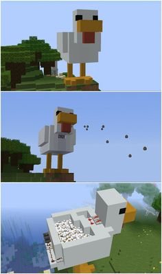 """The Chickenator - a self-reloading, aesthetic, egg machine gun - built on my survival server. : Minecraft The Chickenator 9000 - a self-reloading, aesthetic, egg machine gun - built on my survival server. Minecraft Legal, Minecraft Kunst, Minecraft World, Minecraft Farm, Cute Minecraft Houses, Minecraft Plans, Amazing Minecraft, Minecraft House Designs, Minecraft Tutorial"