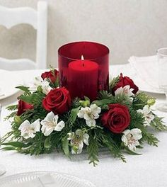 Christmas Floral Arrangements Centerpieces christmas flower arrangements and Table Flower Arrangements, Christmas Flower Arrangements, Christmas Flowers, Table Flowers, Christmas Candles, Christmas Wreaths, Christmas Crafts, White Christmas, Elegant Christmas