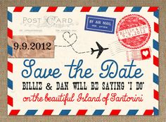 !!! Vintage Airmail Save the Date Card
