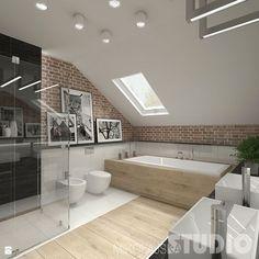 Inspiration déco pour la salle de bains : douche, baignoire, carrelage, parquet, mur en briques.. http://www.m-habitat.fr/par-pieces/sanitaires/amenager-une-salle-de-bains-parentale-2684_A #déco #brique #maison