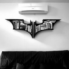 """The Dark Knight Bookshelves A set of bookshelves. - The Dark Knight Bookshelves """" A set of bookshelves based on the popular franchise of Nolanverse Batman. No current stock, just made to order. Dimension : 22 x 32 inch / 56 x 82 cm """" The Dark Knight Trilogy, Batman The Dark Knight, Batman Dark, Batman Bookshelf, Batcave, Design Case, Geeks, My Dream Home, The Darkest"""