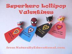 Superhero lollipop Valentines