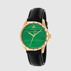 Gucci G-Timeless Green Malachite Dial Black Leather Strap Watch. This Gucci G-Timeless quartz watch is a stunning update on the ever-popular G-Timeless. Remaining instantly recognisable as Gucci, the watch boasts a vibrant colour with new exquisite det Gold Diamond Watches, Gold Watches Women, Watches For Men, Gucci Jewelry, Luxury Jewelry, Jewelry Watches, Bee Jewelry, Stone Jewelry, Jewellery