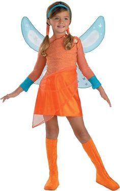 Kids Stella Winx Costume, Not Just for Halloween!  Costume includes character dress with cameo, wings, suede boot covers and headband.