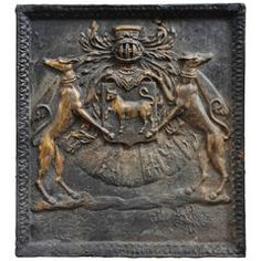 Important Antique Fireback with Jean Bouhier De Savigny Coat of Arms