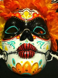 Day of the Dead hand painted decorative mask Dia de los Muertos sugar skull mardi gras. $75.00, via Etsy.