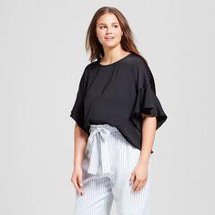 Women's Plus Size Ruffle Sleeve Top - Who What Wear Black 2X