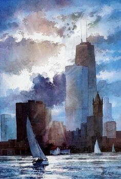 Watercolor of Chicago Skyline - Summer Sailing by Tom Lynch Watercolor Artists, Watercolor Drawing, Watercolor Landscape, Watercolor Paintings, Watercolor Trees, Watercolor Portraits, Abstract Paintings, Watercolours, Painting Art