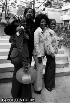 American soul singer Barry White (2nd left) and his wife Glodean (left), of the Love Unlimited singing group, with two members of that band, during a photocall in London to promote his British concert tour
