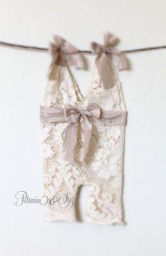 Newborn Antique Lace Romper by PetuniaandIvy on Etsy, $40.00