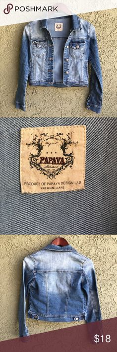 Faded Distressed Stretch Denim Jean Jacket sz S Jean jacket from Papaya clothing, size S. This jacket has stretch to it - as a result, it has a more fitted rather than boxy style. I believe it best fits XS (more loose) to S (more fitted). See measurements for best fit. Manufacturer fading & distressing. 82% cotton, 18% polyester, 2% spandex. VGUC - no visible flaws. Super cute with a dress and ankle boots!   Measurements: shoulder pit to pit: 15 length: 18 Papaya Jackets & Coats Jean Jackets