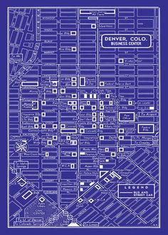 Map of denvers storied streetcar system all things denver 1949 vintage map of downtown denver blueprint map print poster malvernweather Choice Image