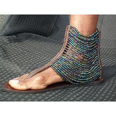 African Masai Beaded Sandals found on Polyvore featuring polyvore, fashion, shoes, sandals, beaded shoes, rainbow shoes, brown leather shoes, brown sandals and rainbow sandals