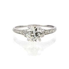 Simple and intricate! New York, NY Jewelry, engagement rings - Leigh Jay Nacht - Replica Art Deco Engagement Ring - 1306-11