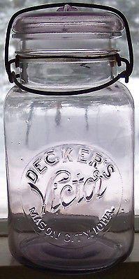 Beautiful Old Amethyst Mason City,Iowa DECKERS VICTOR Quart Product Canning Jar