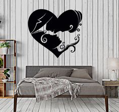 Vinyl Wall Decal Heart Loving Couple Bedroom Art Love Stickers (457ig)