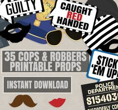 35 Cops and Robbers Party Props, Police party theme photo booth props, mugshot sign printable, police photobooth party diy, instant download by YouGrewPrintables on Etsy
