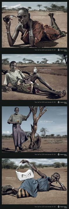 People in need campaign - African people holding a luxury item and the price indication of the item alongside the price of some developing world needs (such as access to water)