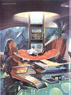 Retro future pad / Illustration by Paul Alexander / Tags: Arte Sci Fi, Sci Fi Art, Futuristic Art, Futuristic Architecture, Futuristic Interior, Illustrations Vintage, Illustration Art, Cyberpunk, Art Science Fiction