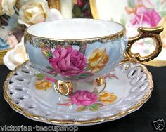 Beautiful light blue floral teacup!