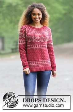 Knitted jumper with round yoke and multi-coloured Norwegian pattern, worked top down. Sizes S - XXXL. The piece is worked in DROPS Merino Extra Fine. Knitting Patterns Free, Free Knitting, Free Pattern, Drops Design, Knit Shirt, Jumpers, Knit Crochet, Sweaters, How To Make